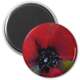 Red Flower, Poppy. 2 Inch Round Magnet
