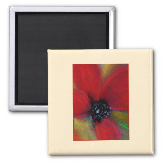 Red Flower, Poppy. 2 Inch Square Magnet