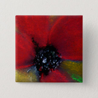 Red Flower, Poppy. Pinback Button