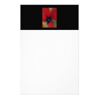 Red Flower, Poppy. Personalized Stationery