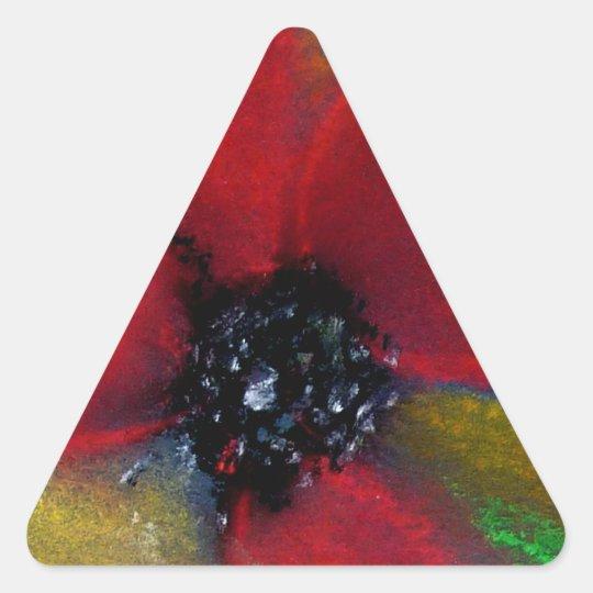 Red Flower, Poppy. Triangle Sticker