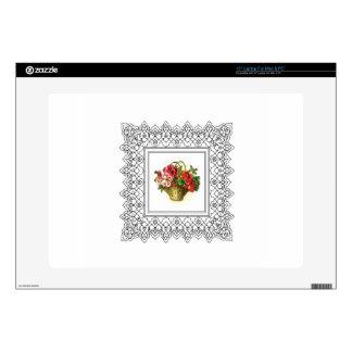 """red flower pot 15"""" laptop skins"""