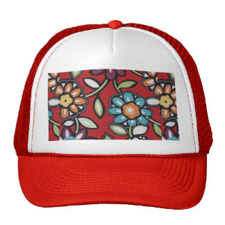 red flower power hat