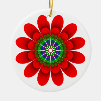 Red Flower Power Merry Christmas Ornament