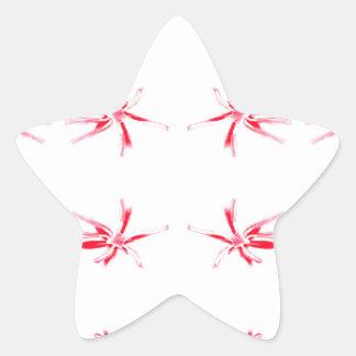 Red Flower Power Pattern. Star Sticker