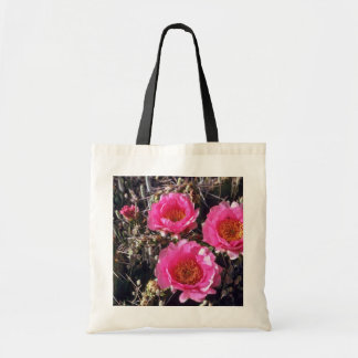 Red-Flower Prickly Pear Cactus flowers Tote Bags