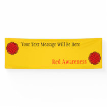 Red Flower Ribbon Banner