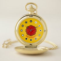 Red Flower Ribbon (Bf) by K Yoncich Pocket Watch