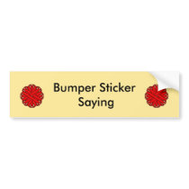 Red Flower Ribbon Bumper Sticker