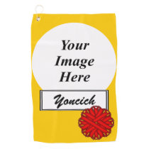 Red Flower Ribbon by Kenneth Yoncich Golf Towel