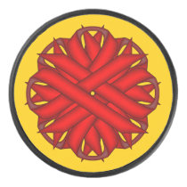 Red Flower Ribbon by Kenneth Yoncich Hockey Puck