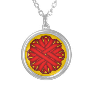 Red Flower Ribbon by Kenneth Yoncich Silver Plated Necklace