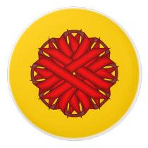 Red Flower Ribbon Ceramic Knob