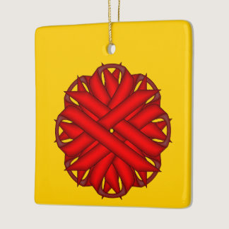 Red Flower Ribbon Ceramic Ornament