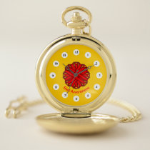 Red Flower Ribbon (Cf) by K Yoncich Pocket Watch
