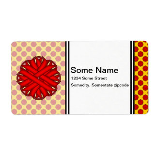 Red Flower Ribbon Label