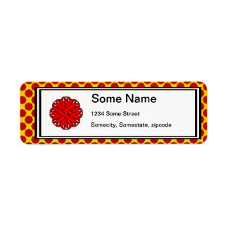 Red Flower Ribbon Label