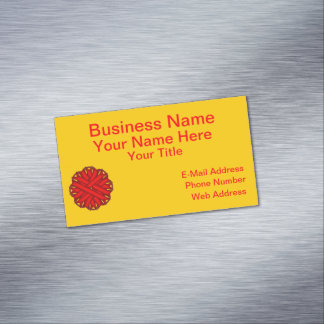 Red Flower Ribbon Magnetic Business Card