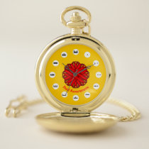 Red Flower Ribbon (Mf) by K Yoncich Pocket Watch