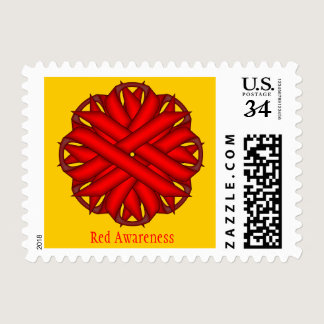 Red Flower Ribbon Postage