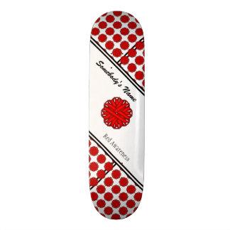Red Flower Ribbon Skateboard