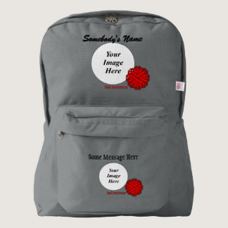 Red Flower Ribbon Template Backpack