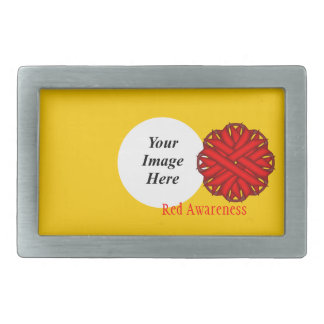 Red Flower Ribbon Template Belt Buckle