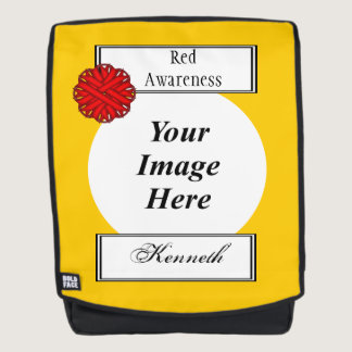 Red Flower Ribbon Template by Kenneth Yoncich Backpack