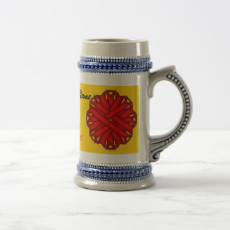 Red Flower Ribbon Template by Kenneth Yoncich Beer Stein
