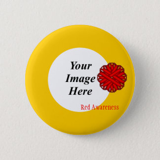Red Flower Ribbon Template by Kenneth Yoncich Button