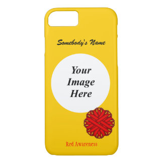 Red Flower Ribbon Template by Kenneth Yoncich iPhone 7 Case