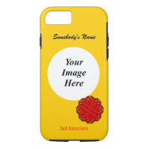 Red Flower Ribbon Template by Kenneth Yoncich iPhone 8/7 Case