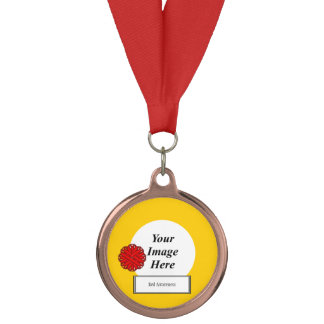 Red Flower Ribbon Template by Kenneth Yoncich Medal