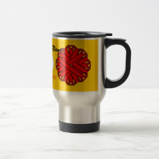 Red Flower Ribbon Template by Kenneth Yoncich Travel Mug