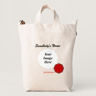 Red Flower Ribbon Template Duck Bag