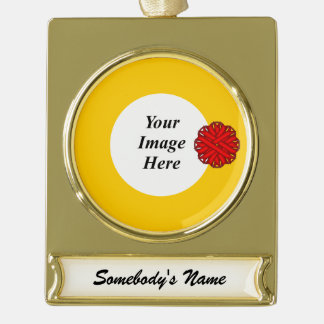Red Flower Ribbon Template Gold Plated Banner Ornament