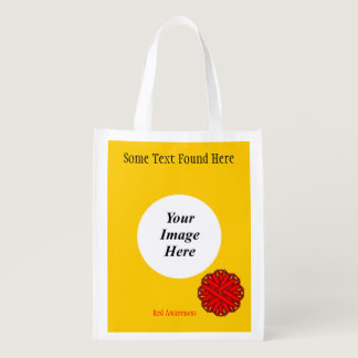 Red Flower Ribbon Template Grocery Bag