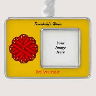 Red Flower Ribbon Template (H-O) Christmas Ornament