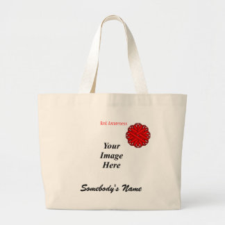 Red Flower Ribbon Template Large Tote Bag