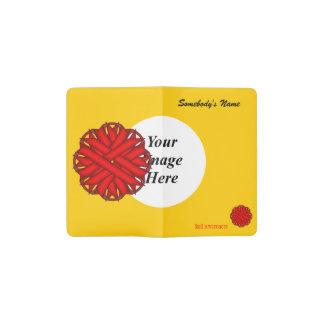 Red Flower Ribbon Template Pocket Moleskine Notebook