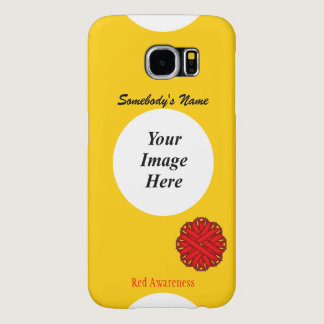 Red Flower Ribbon Template Samsung Galaxy S6 Case