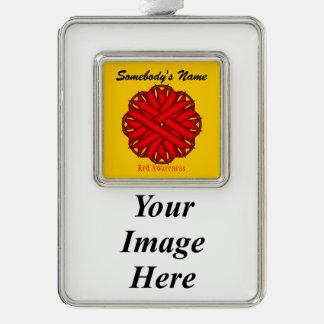 Red Flower Ribbon Template (V-I) Silver Plated Framed Ornament