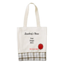 Red Flower Ribbon Template Zazzle HEART Tote Bag