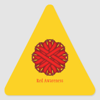 Red Flower Ribbon Triangle Sticker