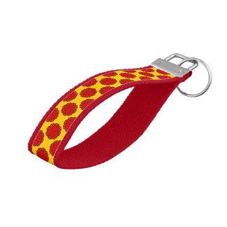 Red Flower Ribbon Wrist Keychain