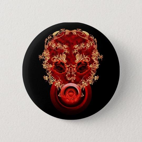 Red Flower Skull Button