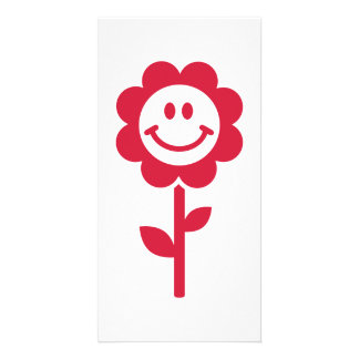 Red flower smiley photo card