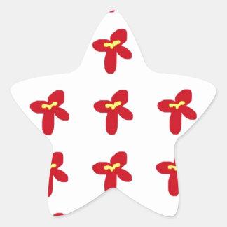 Red Flower Splash Star Sticker