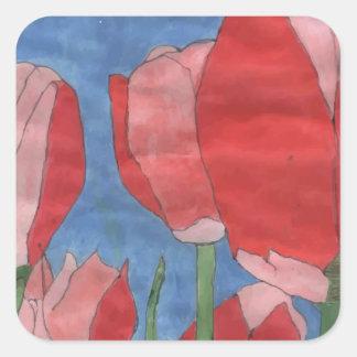 Red Flower Square Sticker