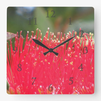 Red Flower Square Wall Clock